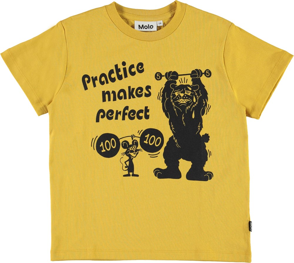 Roxo - Practice - Yellow t-shirt with weight lifters