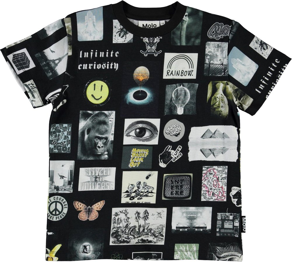 Roxo - Scrapbook Black - Organic t-shirt with small pictures