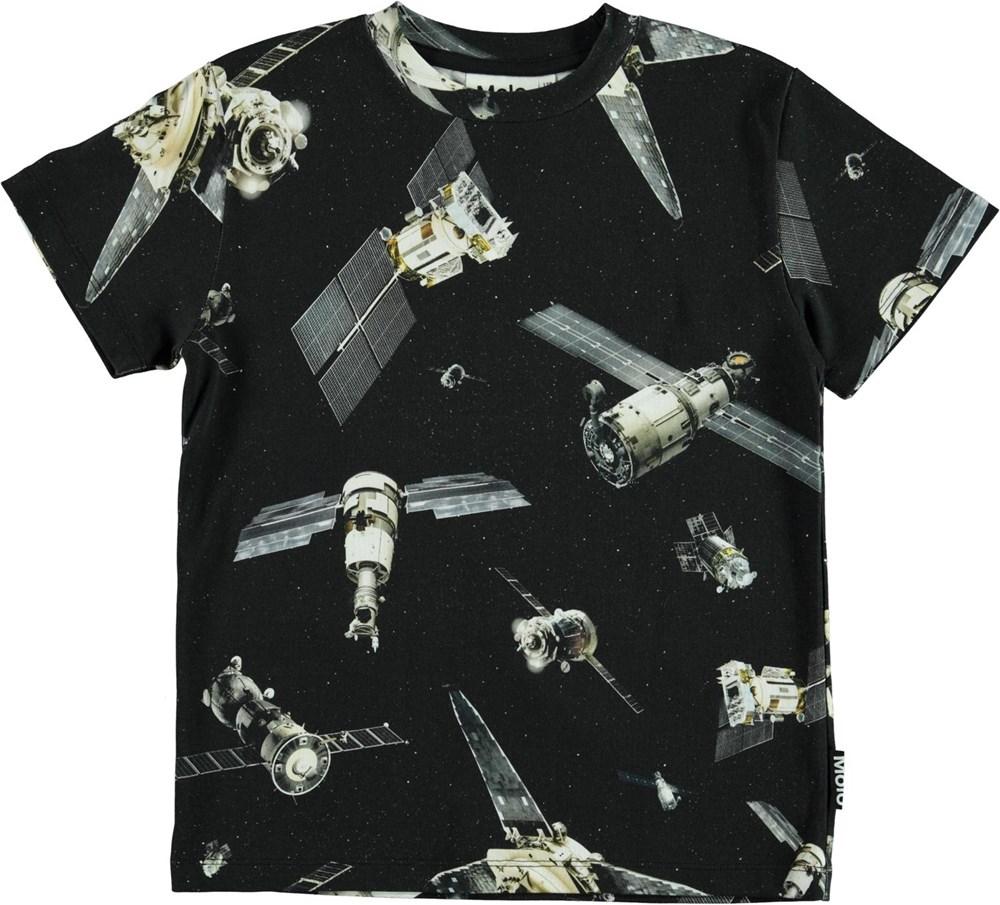 Roxo - Space Satellite - Black organic t-shirt with satellite print