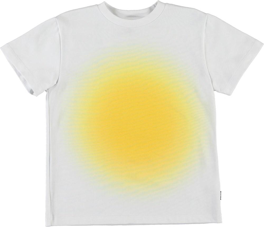 Roxo - Sunshine - White organic t-shirt with yellow sun