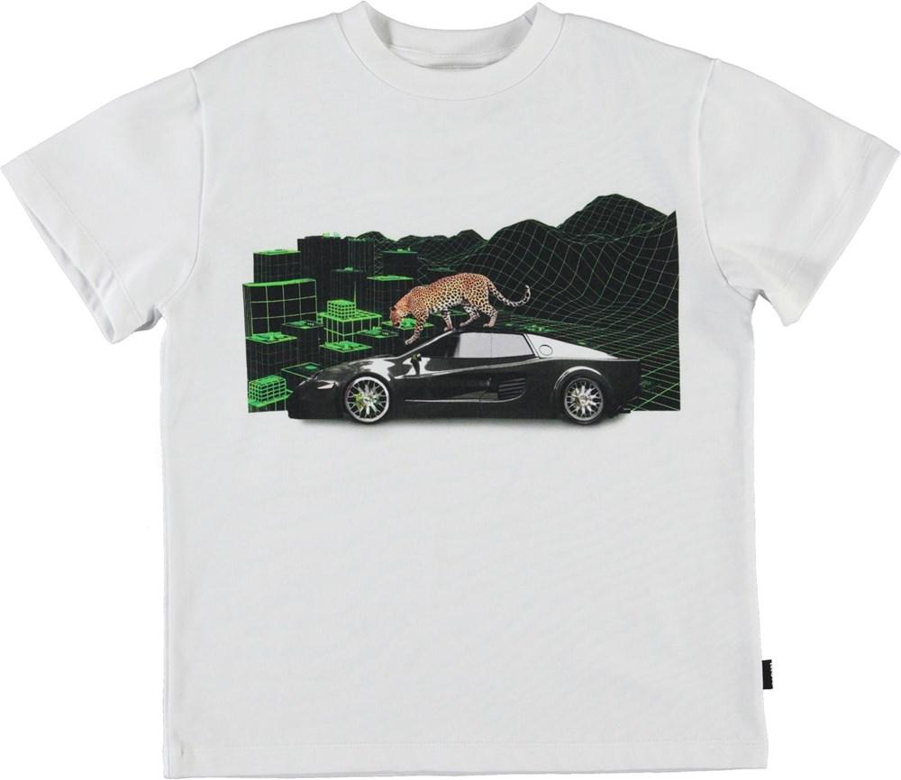 Roxo - Techno Leopard - White organic t-shirt leopard