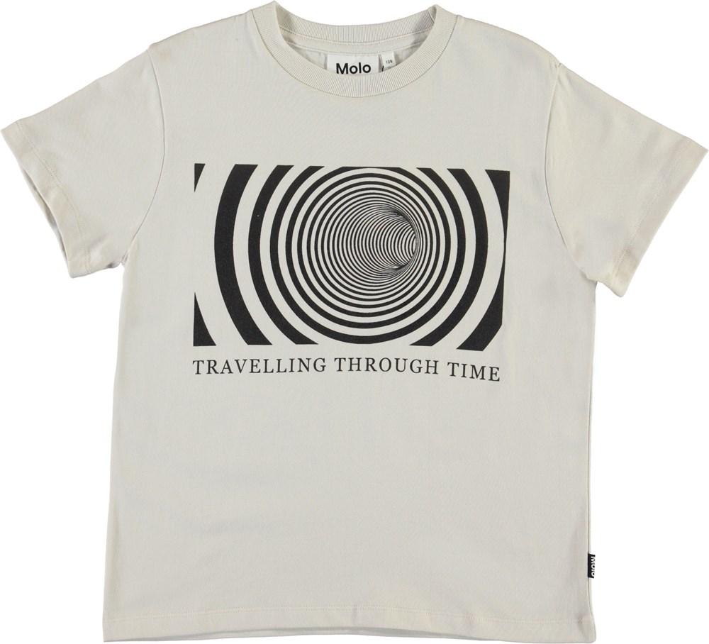 Roxo - Through Time - White organic t-shirt with print