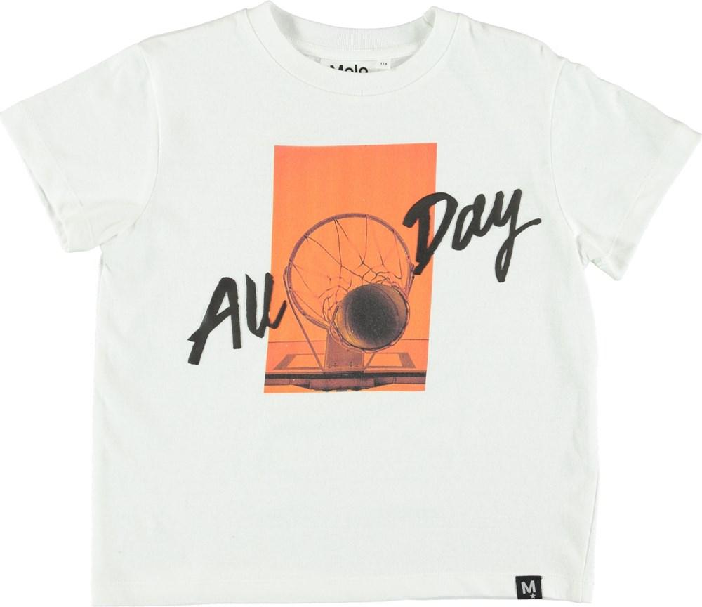 Roxo - White - White t-shirt with basketball print.