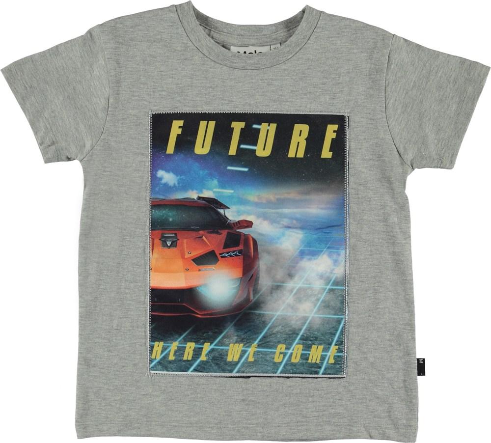 Runi - Grey Melange - T-shirt with car print.