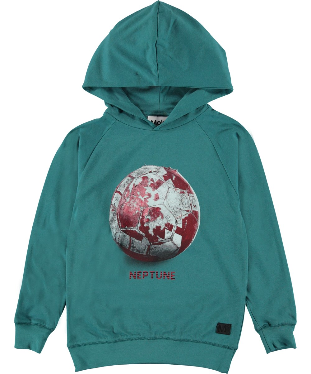 Russel - Neptune - Green hoodie with Neptune football.