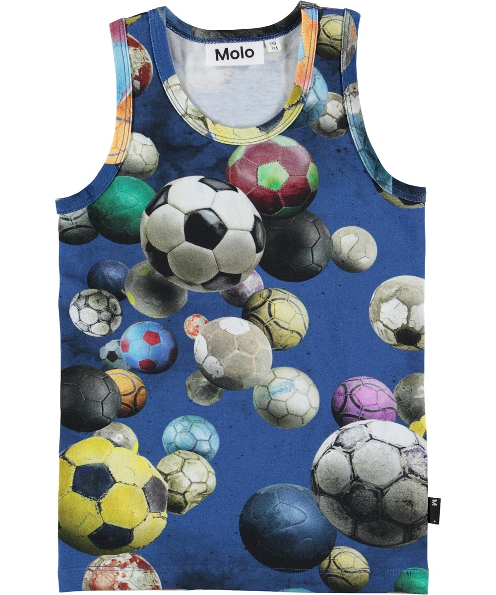 Jim - Cosmic Footballs - Blue vest with footballs.