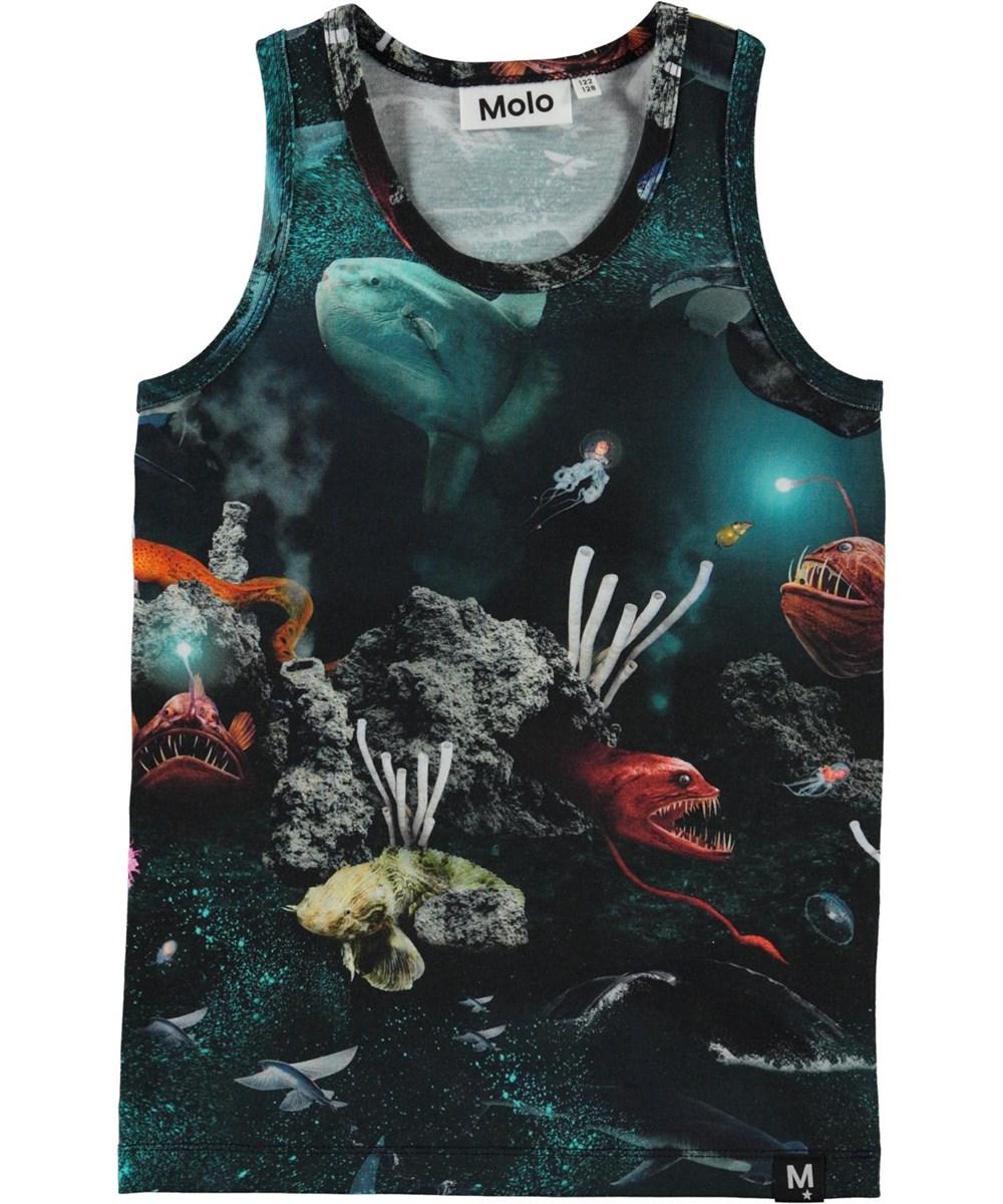 Jim - Deep Sea - Organic vest with ocean and fish print