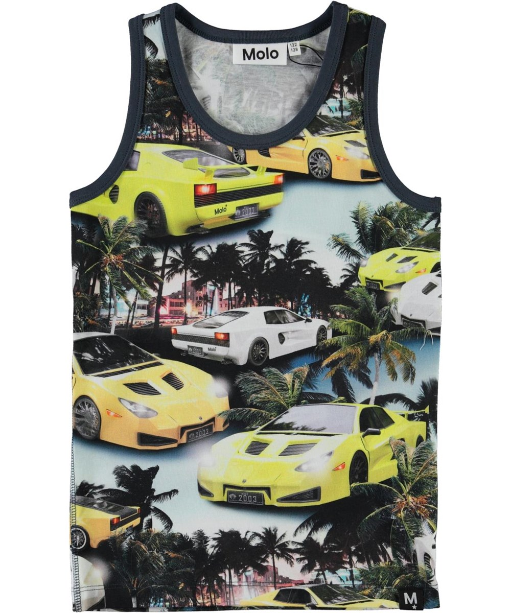 Jim - Fast Cars - Organic vest with palm trees and cars