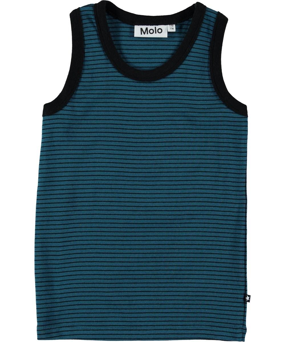 Jim - Frozen Deep Stripe - Vest with black and blue stripes.
