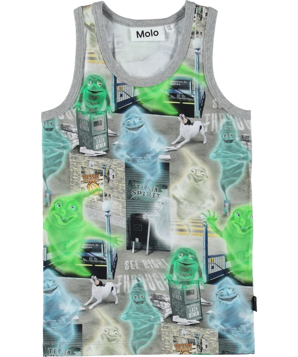Jim - Ghost City - Vest with green ghosts.