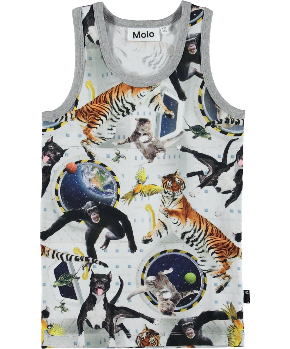 Jim - No Gravity - Grey vest with animals.