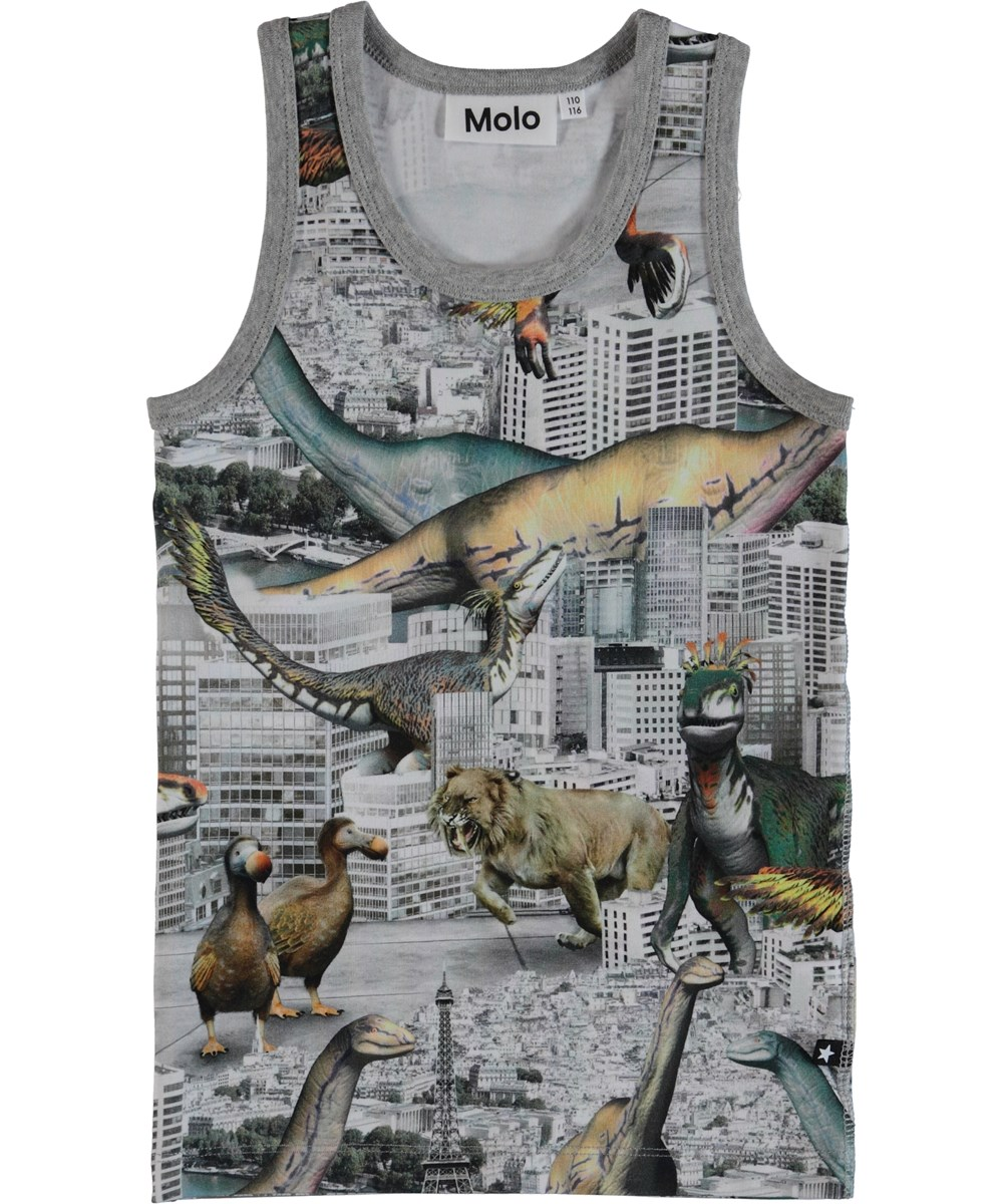 Jim - Revival Animals - Vest with dinosaur print.