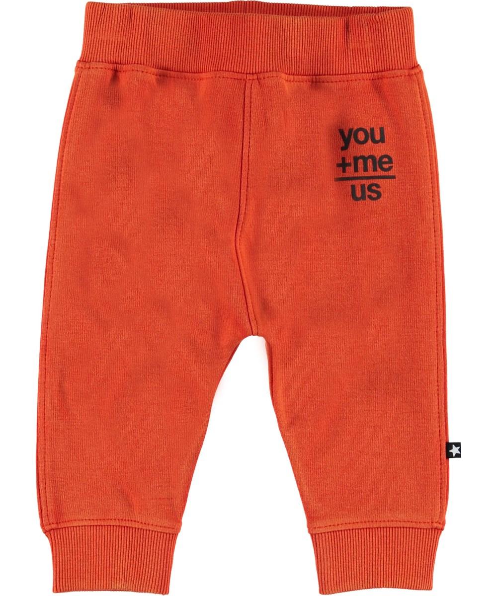 Soon - Alert - Oranje baby joggingbroek.