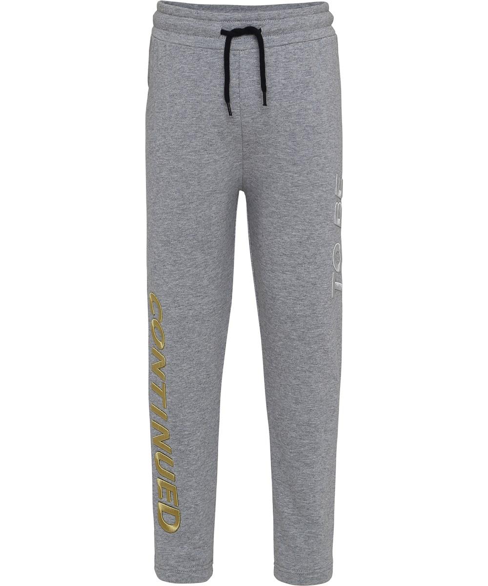 Aim - Grey Melange - Sweatpants med broderet tekst.