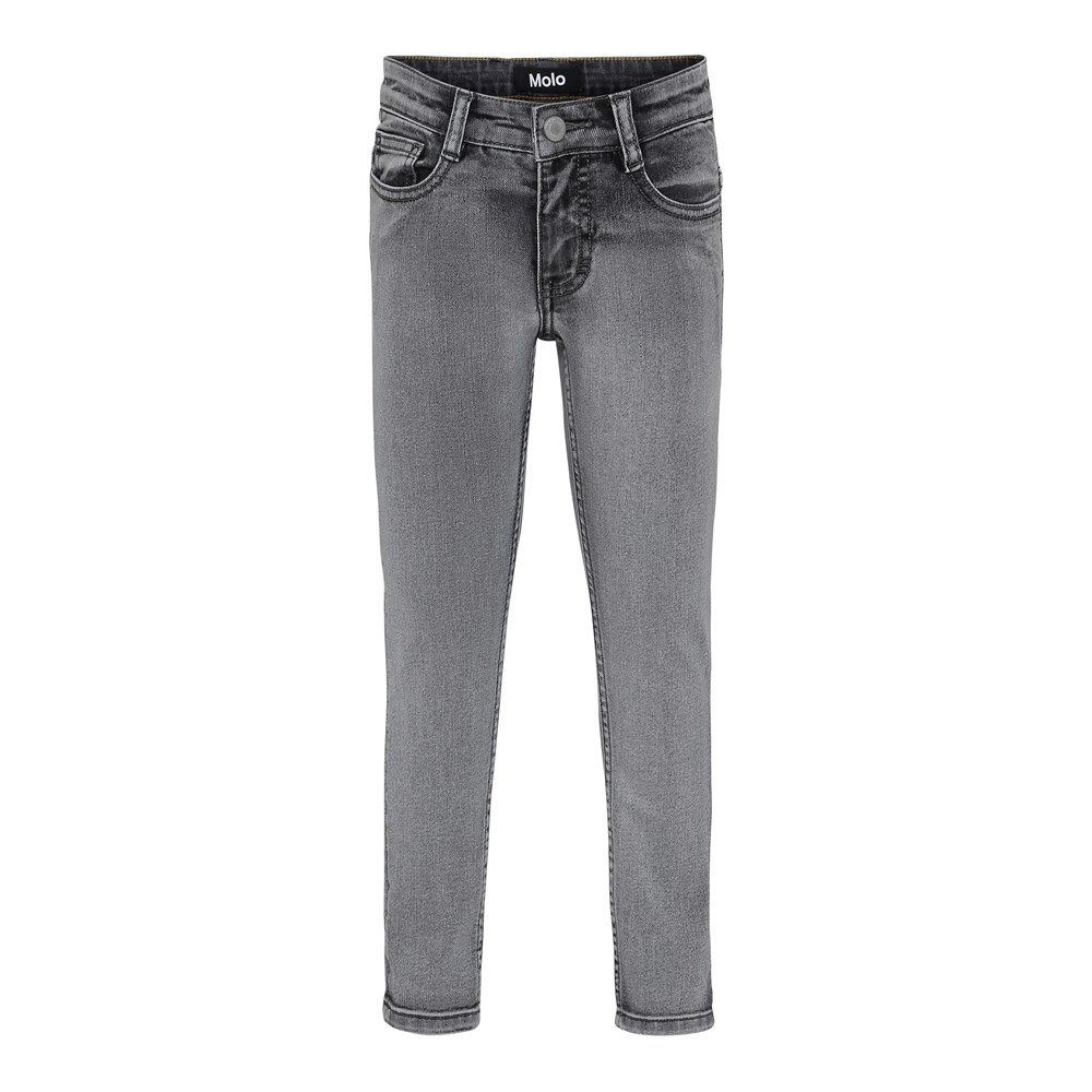 Aksel - Grey Washed Denim - Grå vaskede slim denim jeans.