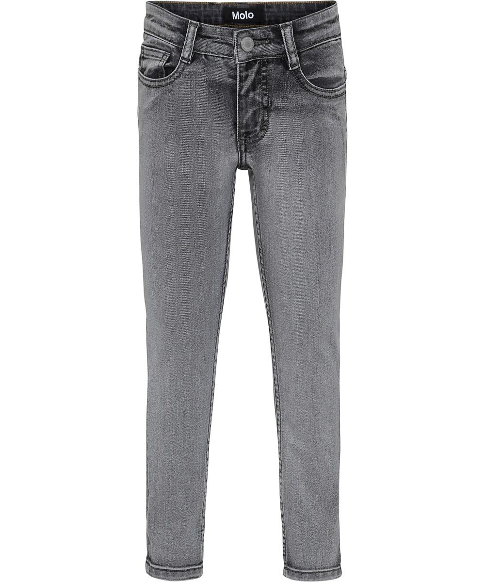 Aksel - Grey Washed Denim - Grå vaskede slim denim jeans.