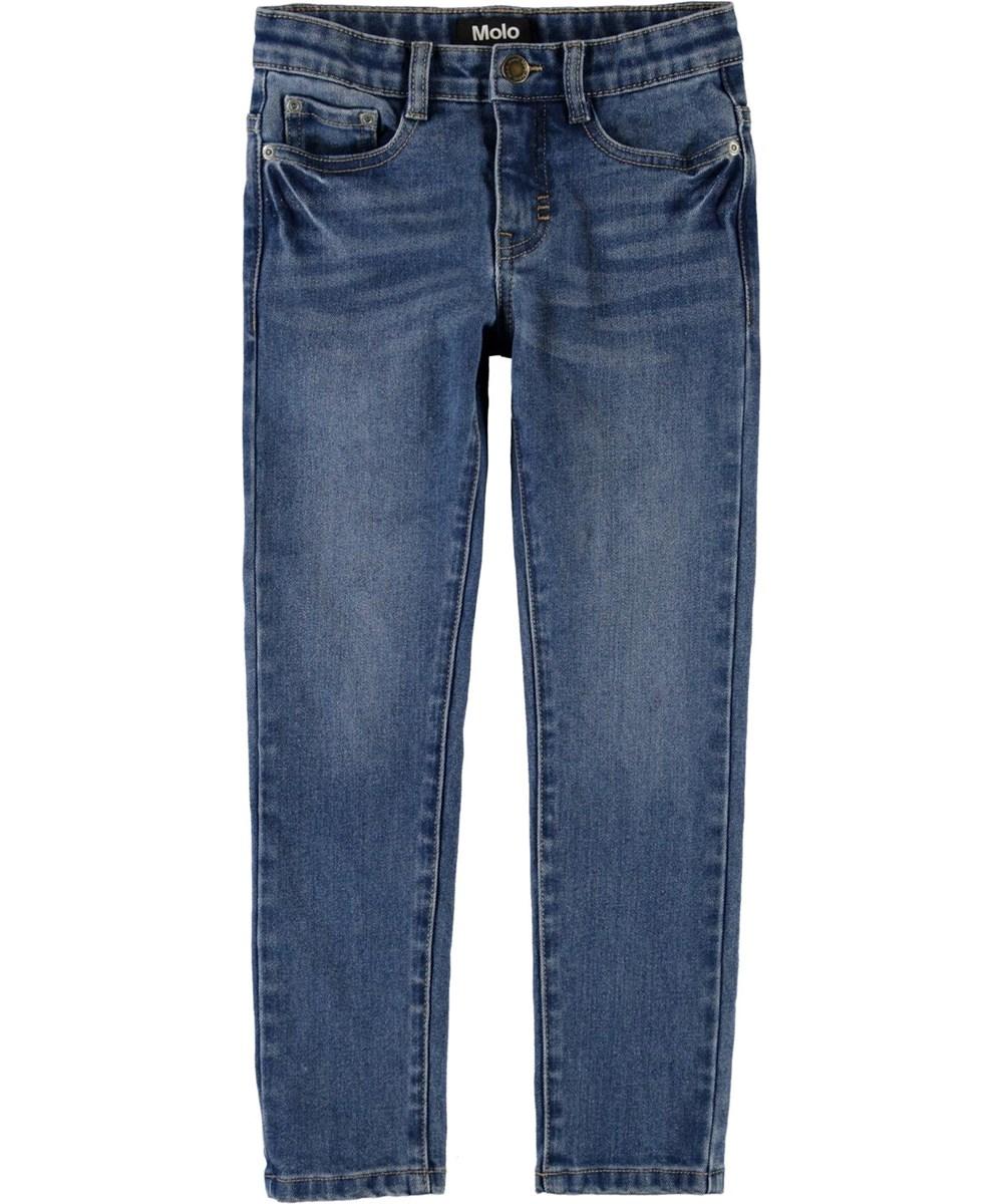 Aksel - Mid Blue Wash - Blå slim fit jeans