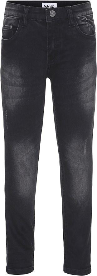 Aksel - Washed Black - Sorte slim fit jeans med slid