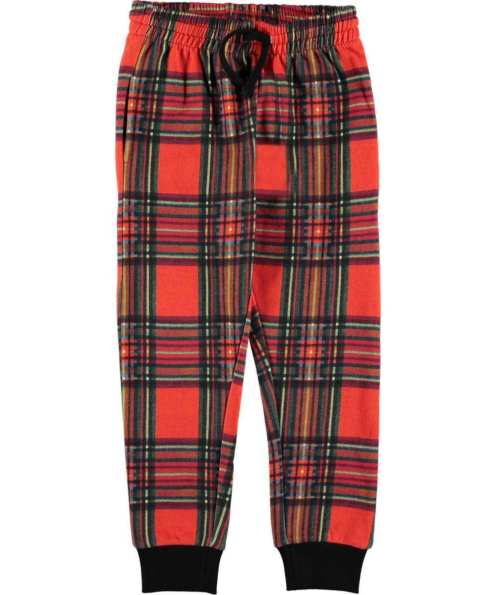 Alcani - Red Check - Sweatpants rød tern bukser.