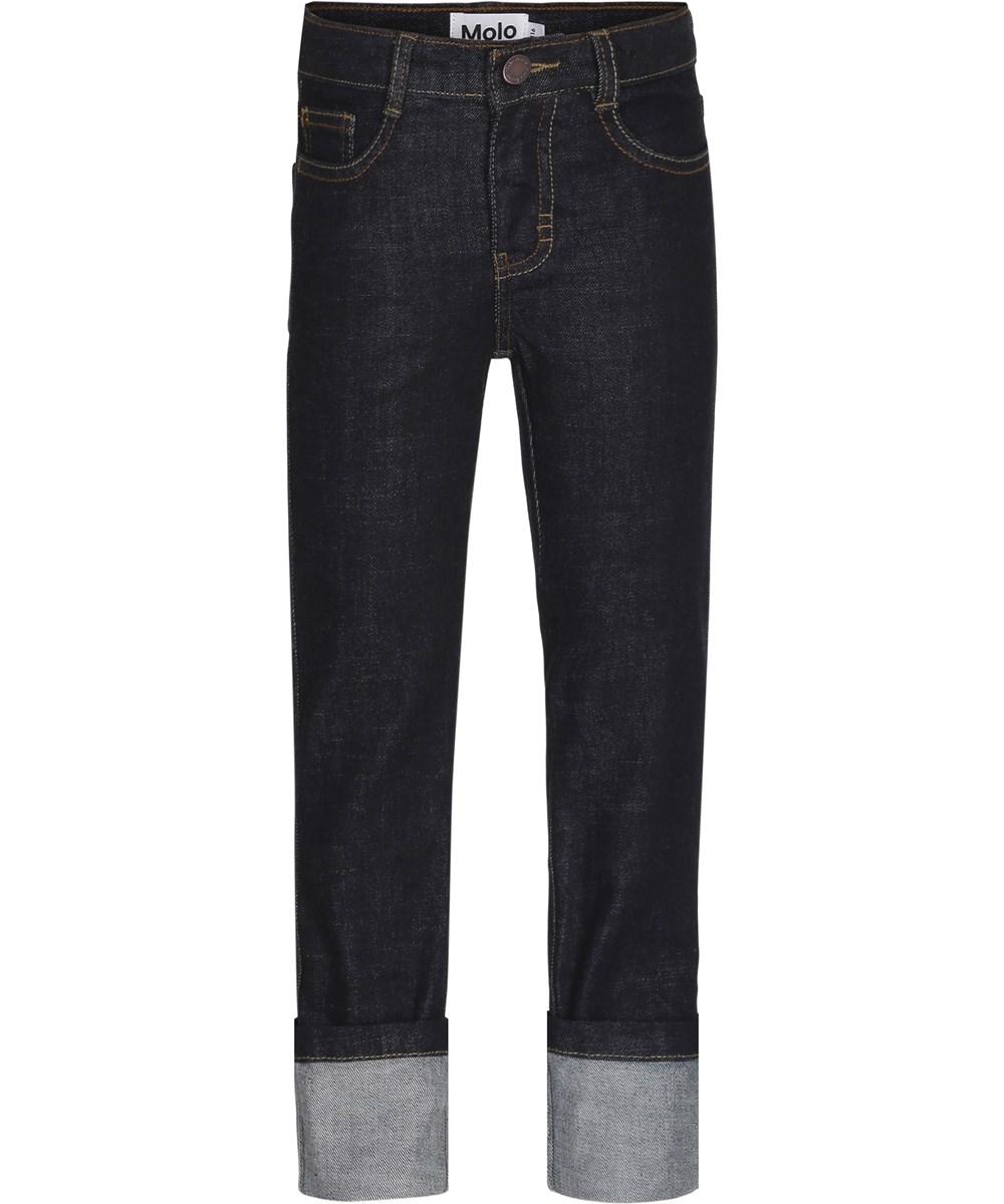 Alon - Rinse Wash - Mørkeblå denim jeans med opsmøg