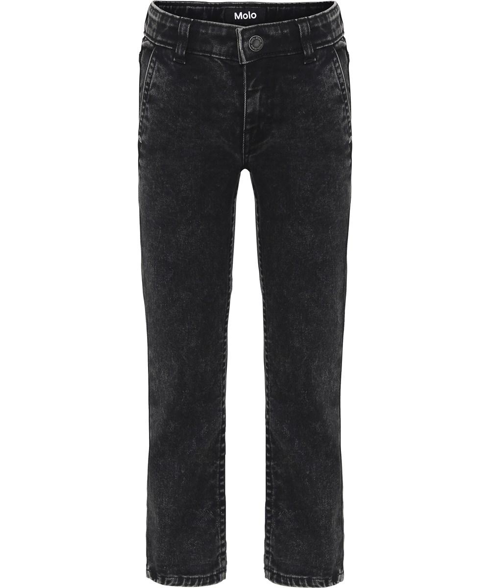 Aloni - Stone Washed Black - Sorte forvasket denim jeans med opsmøg.
