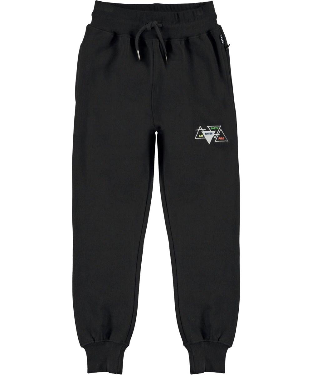 Alvar - Black - Økologiske sorte sweatpants med elementer