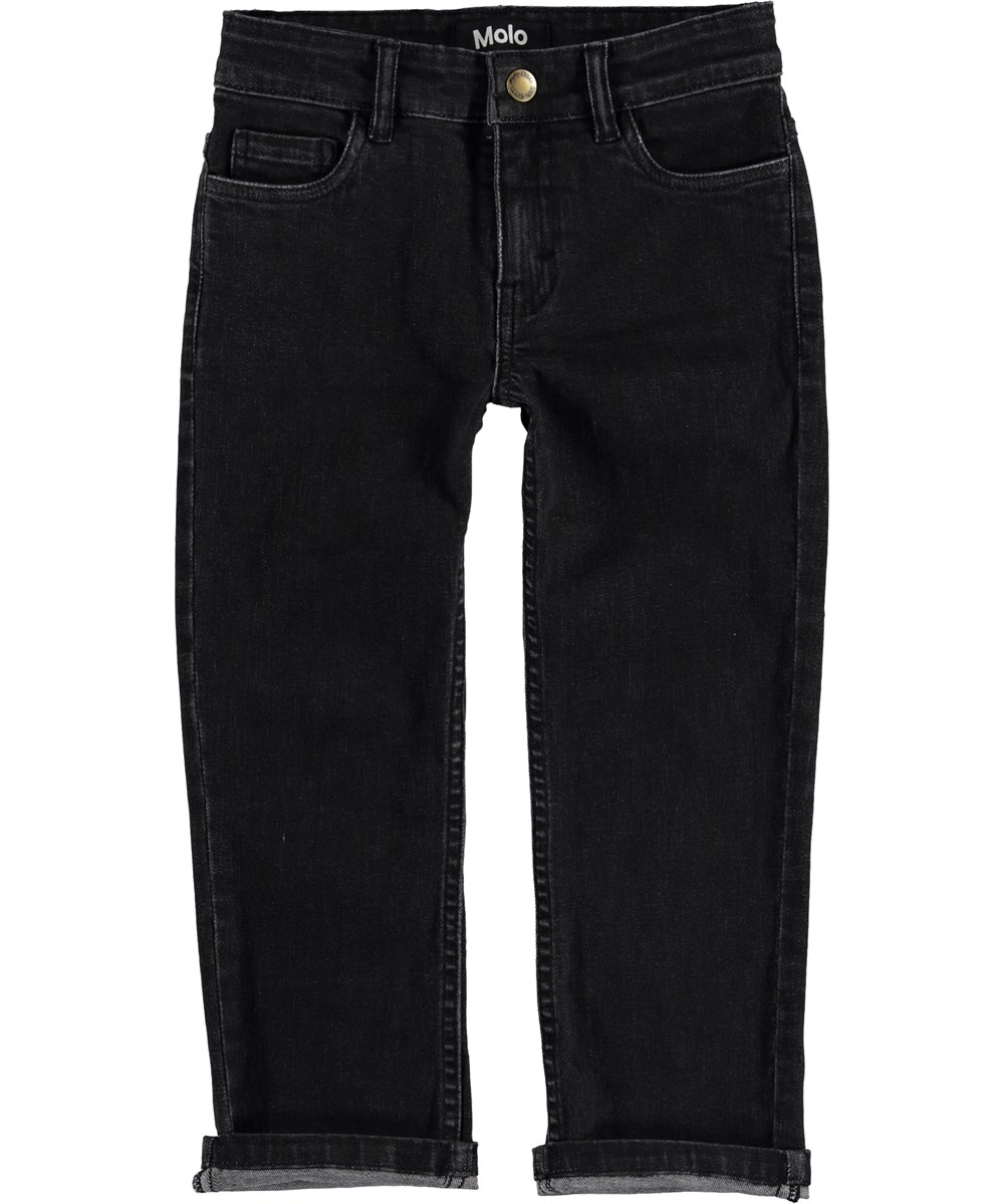 Andy - Stonewash Black - Sorte jeans med opsmøg.