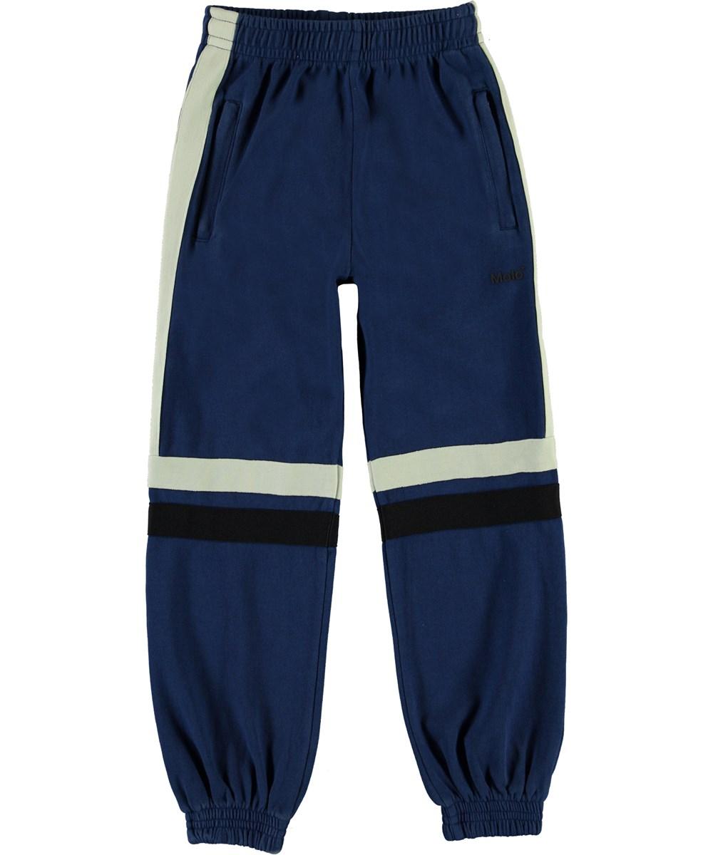Anoua - Ink Blue - Blå sweatpants med striber