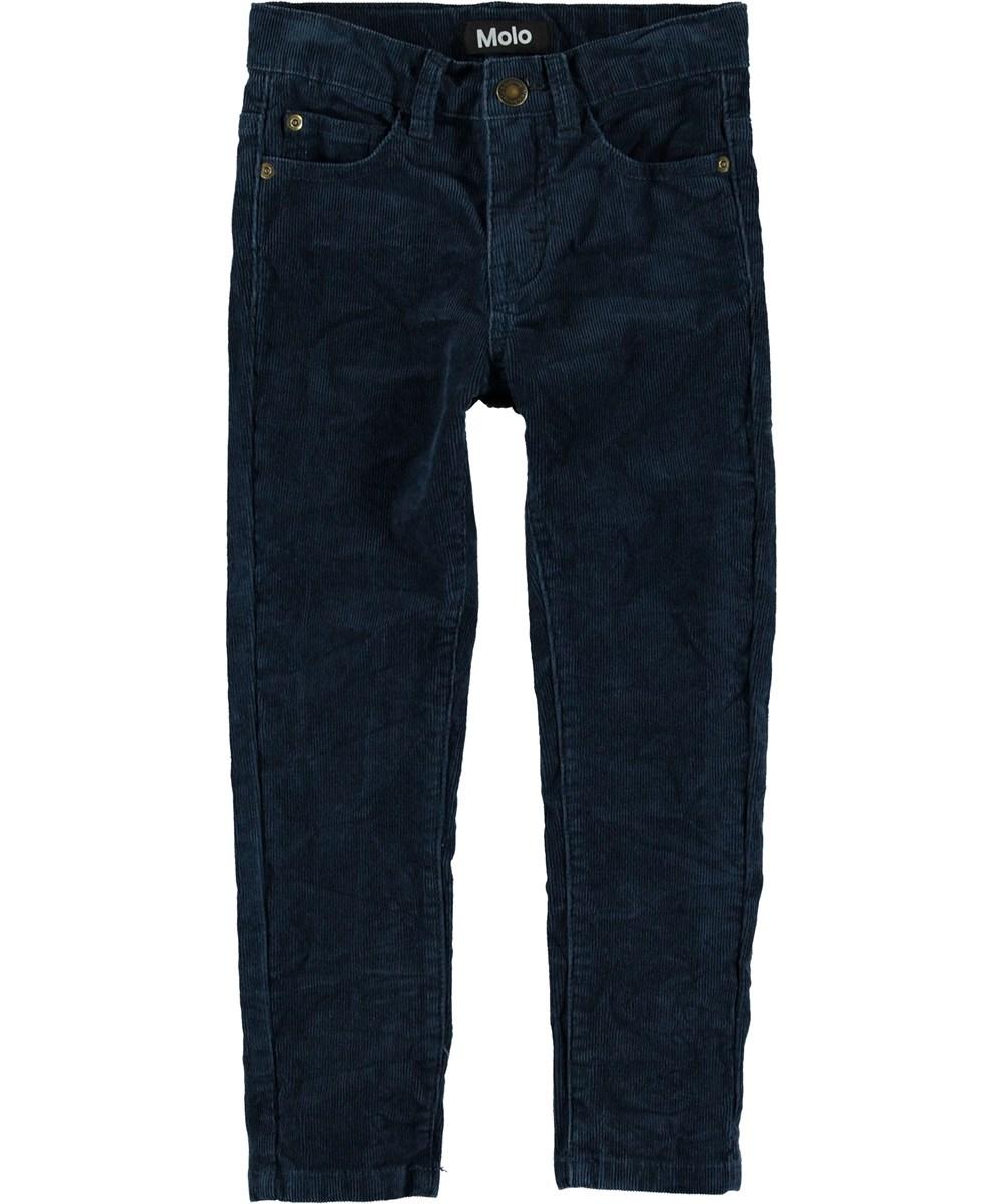 Anton - Infinity - Mørkeblå slim fit fløjls bukser.