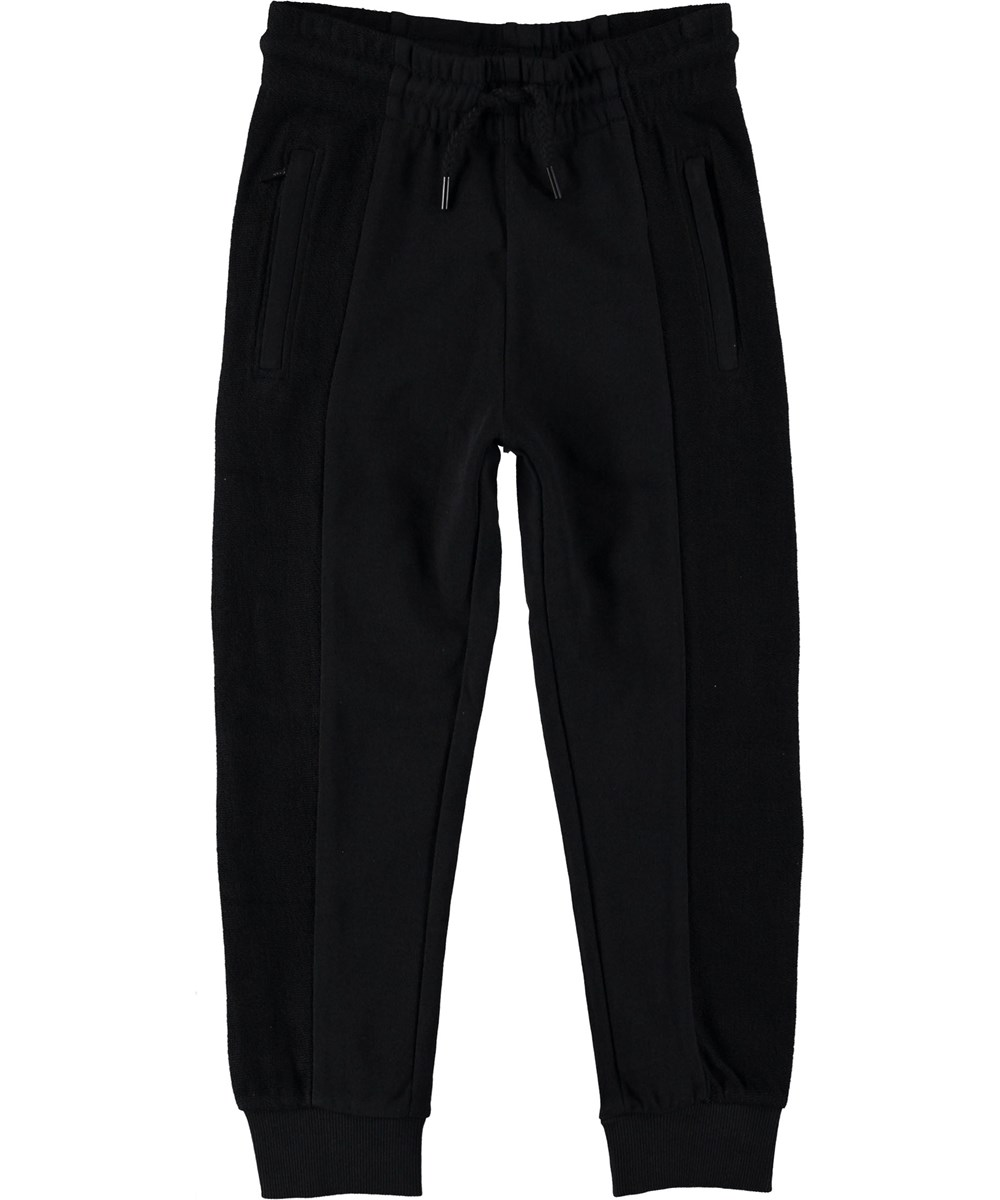 Aqu - Black - Sweatpants sort sporty bukser.