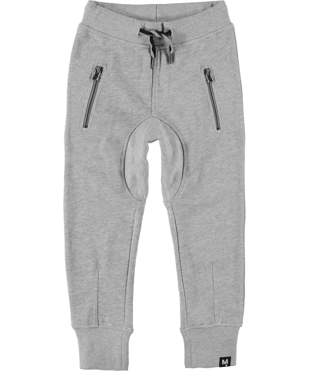 Ashton - Grey Melange - Sweatpants grå sporty bukser.