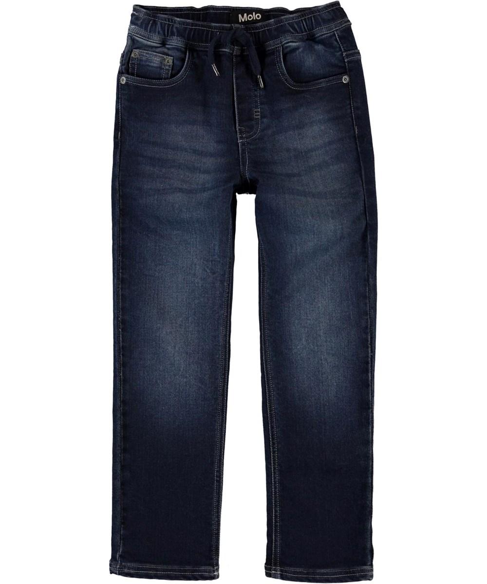 Augustino - Dark Indigo - Mørkeblå jeans med bindebånd