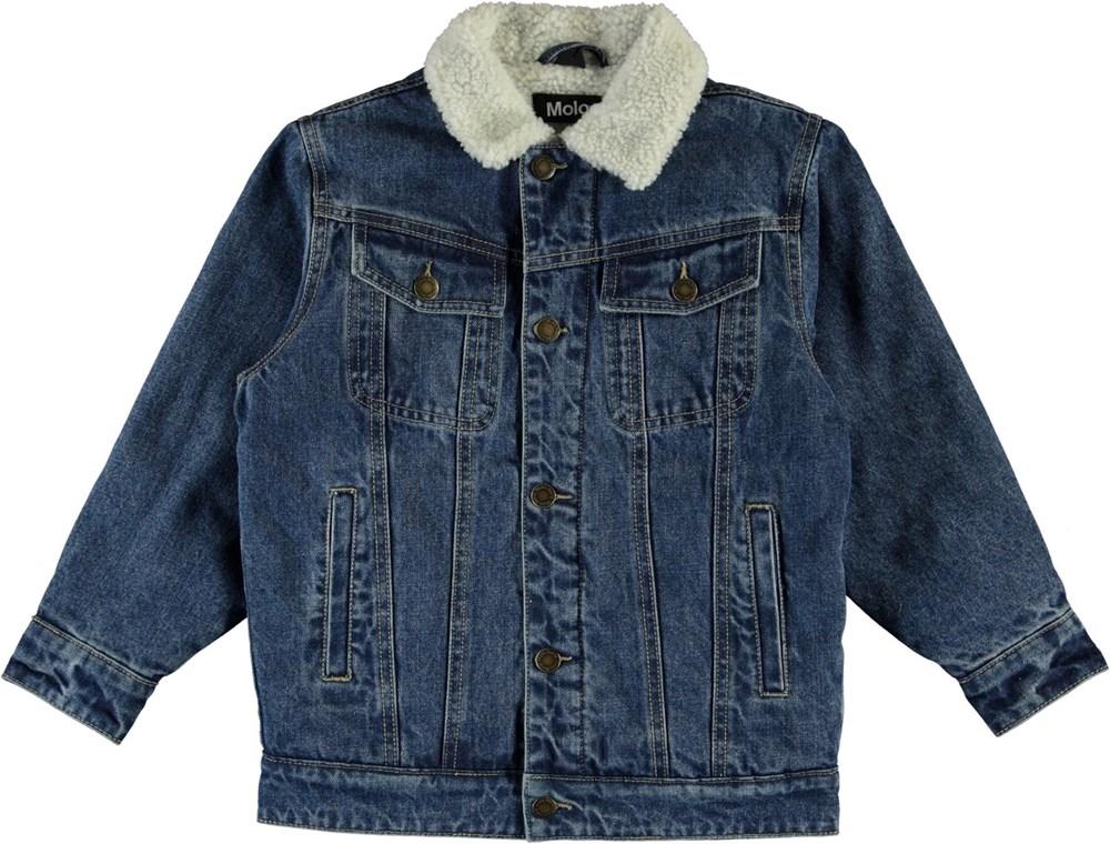 Hen - Stone Blue - Blå denim jakke med hvidt for