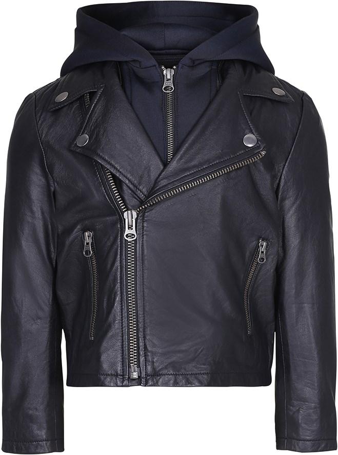 Holtti - Black - Sort læderjakke med aftagelig hætte