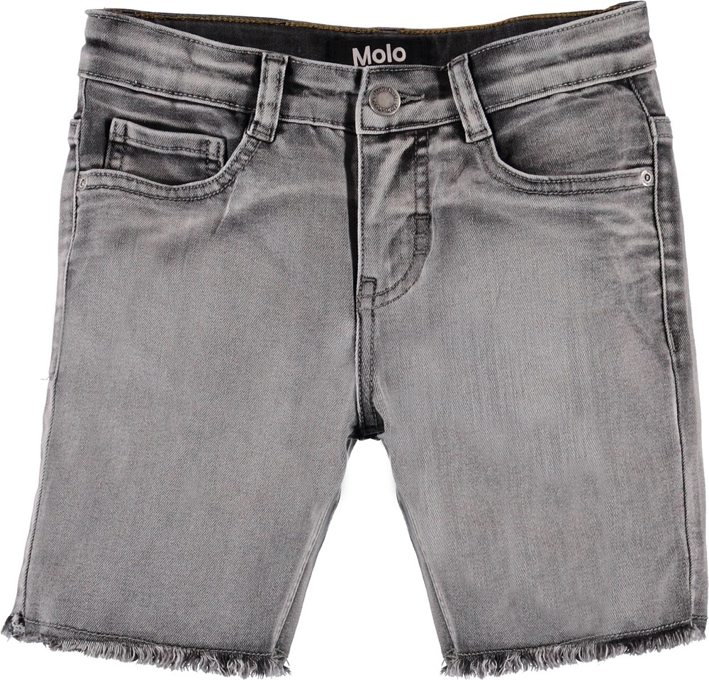 Alons - Grey Washed Denim - Blå shorts med opsmøg