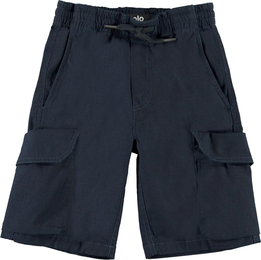 Argod - Dark Navy - Mørkeblå cargo shorts med lommer