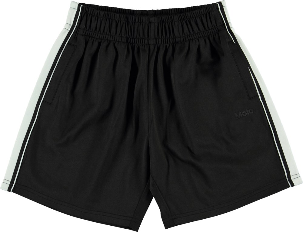 Arinos - Black - Sorte sporty shorts med hvid stribe