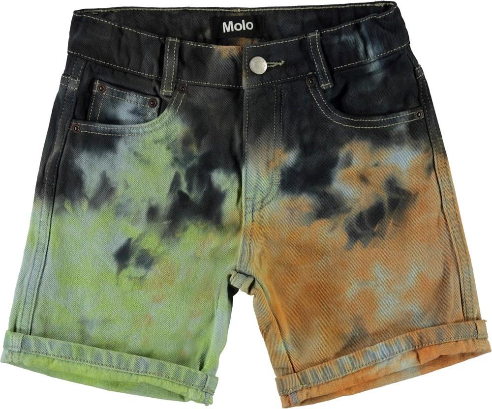 Avian - Tie Dye - Tie-dye denim shorts med opsmøg