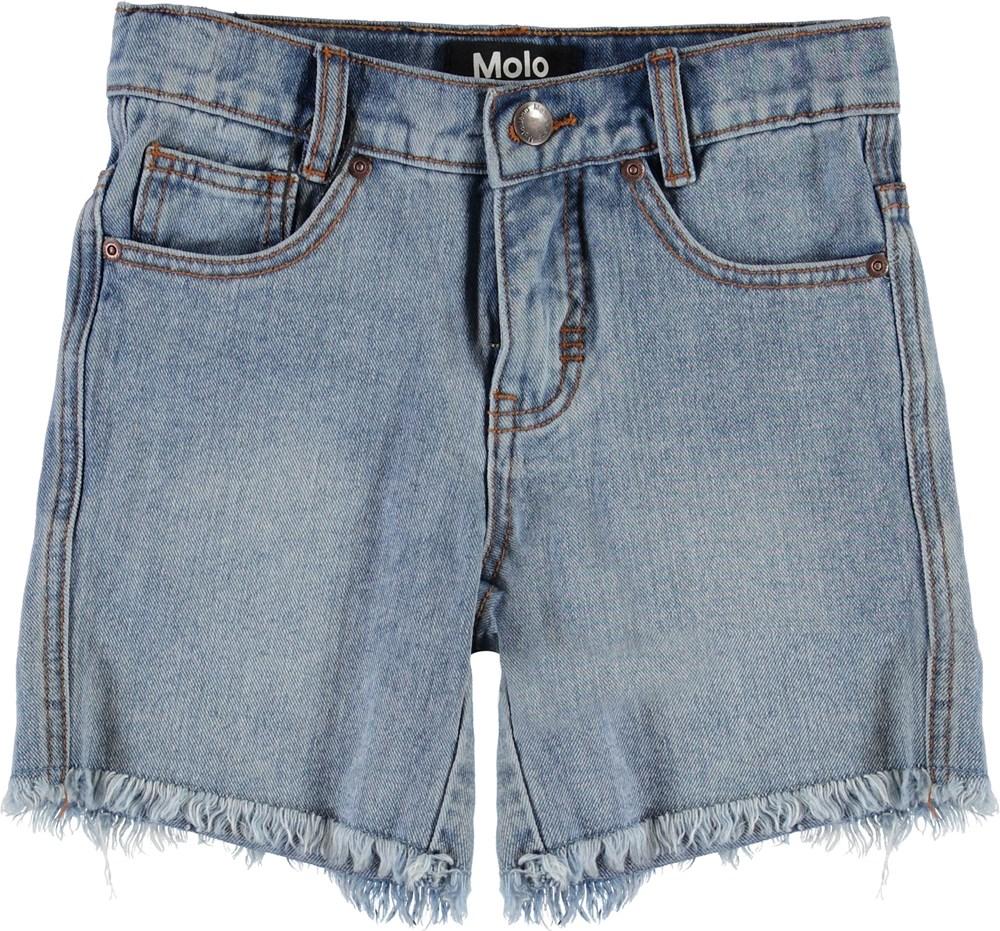 Avian - Stone Blue - Blå denim shorts med rå kanter