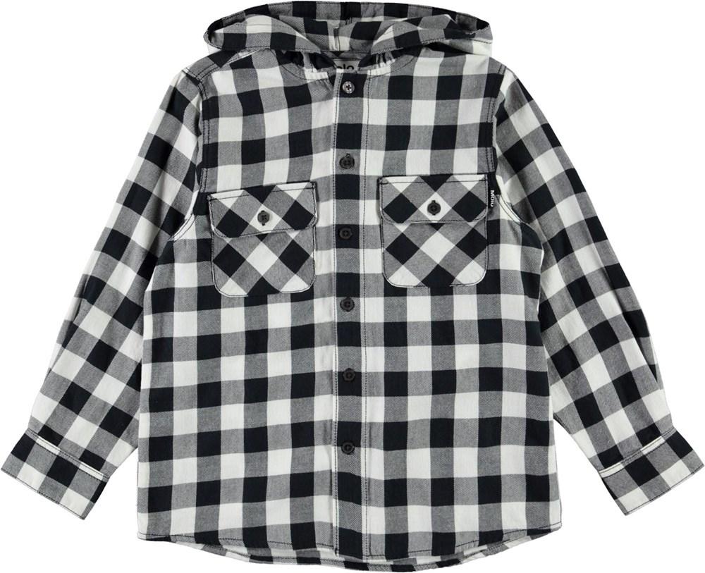 Rizz - Check - Sort hvid og grå ternet skjorte