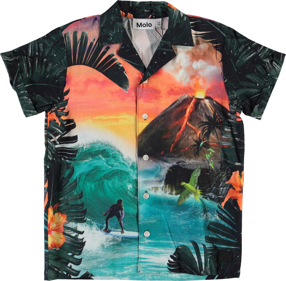 Rodi - Wildest Island - Hawaii skjorte med vulkan print