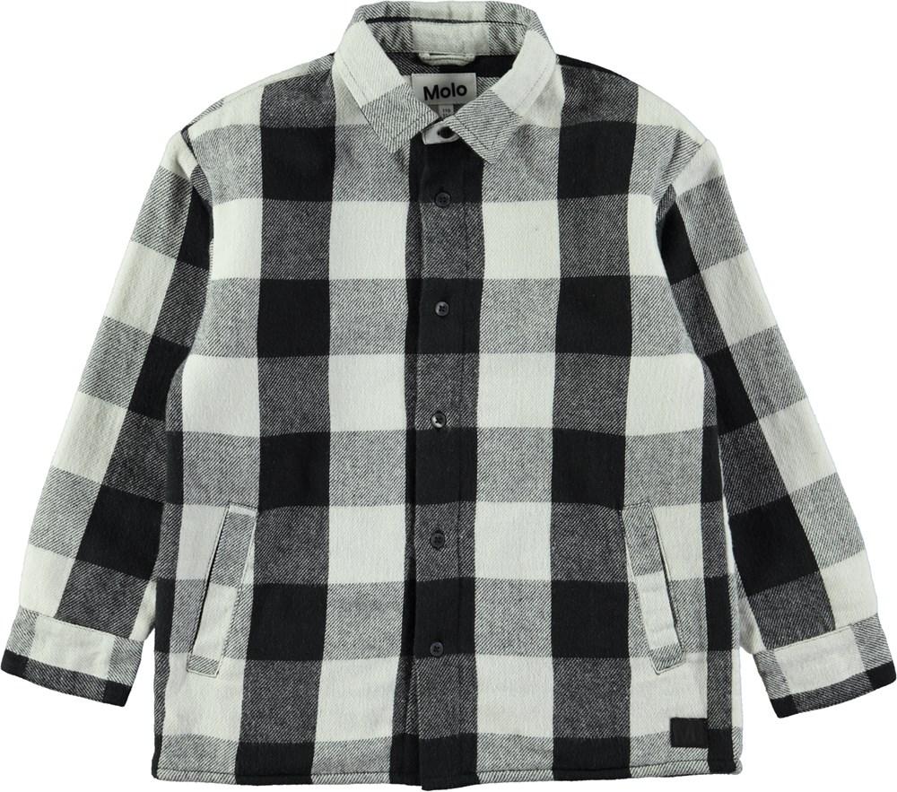 Romney - Dirty White Check - Ternet skjorte i sort og hvid med fleecefor