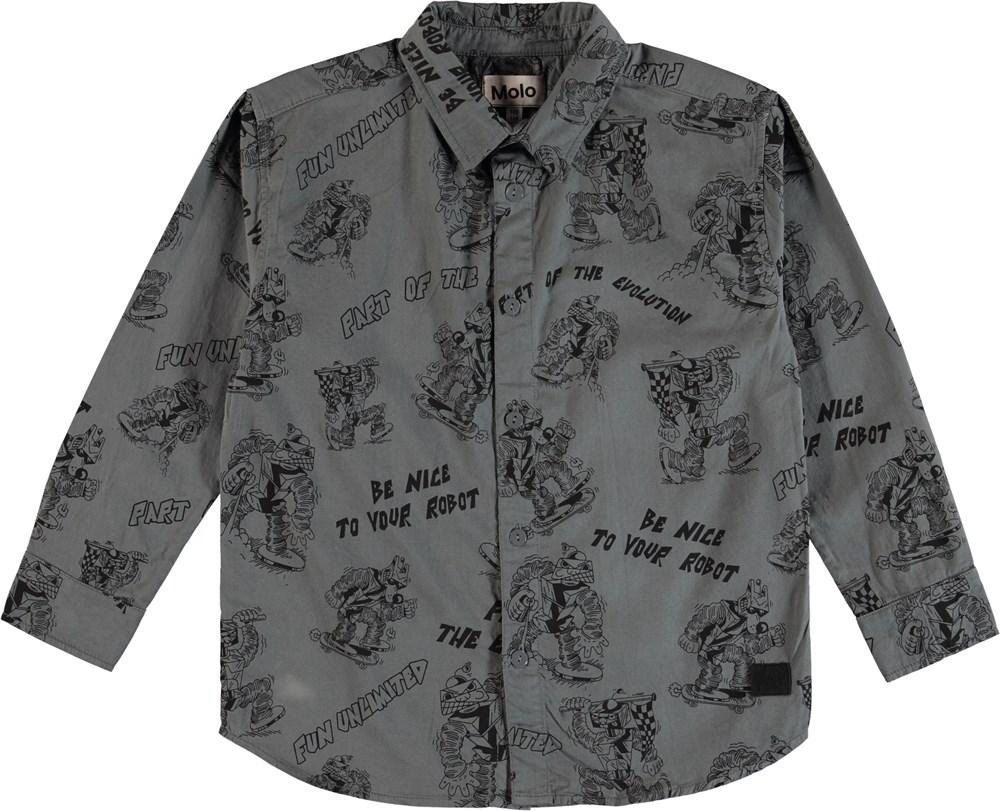 Russy - Pewter - Skjorte med robot print og tekst.