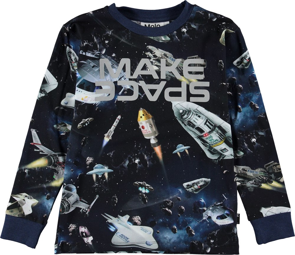 Rai - Space Traffic - Blå bluse med rumskibe.