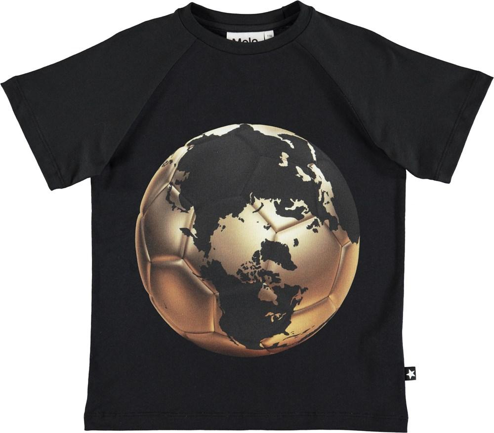 Raines - Football World Map - Sort t-shirt med fodboldprint i guld