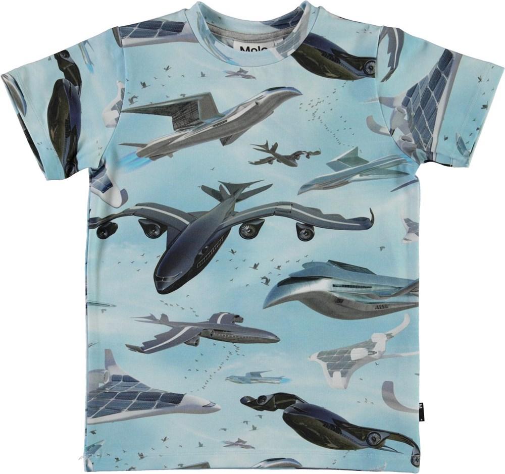 Ralphie - Biomimicry - Økologisk lyseblå t-shirt med fly print