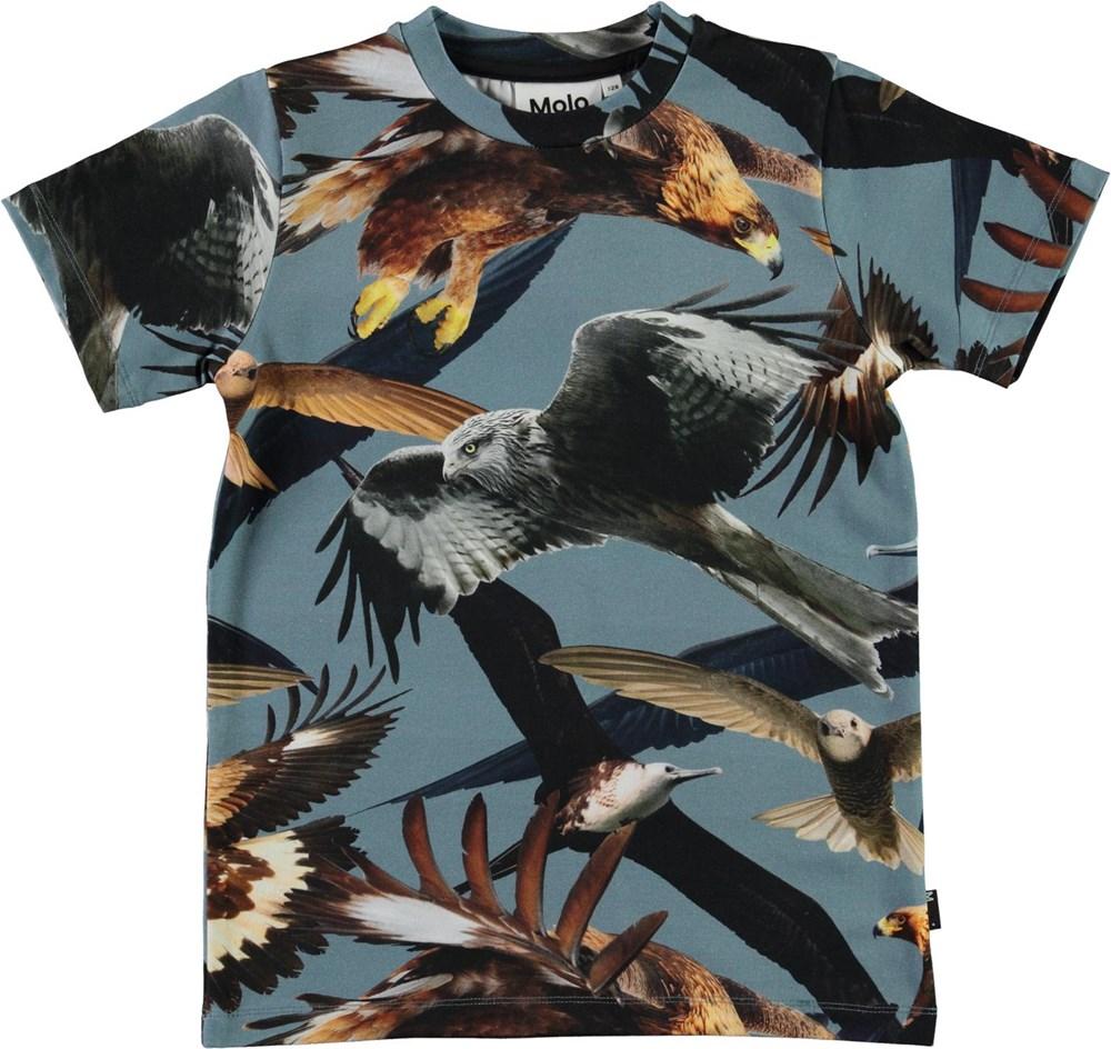 Ralphie - Birds - Økologisk blå t-shirt med fugle