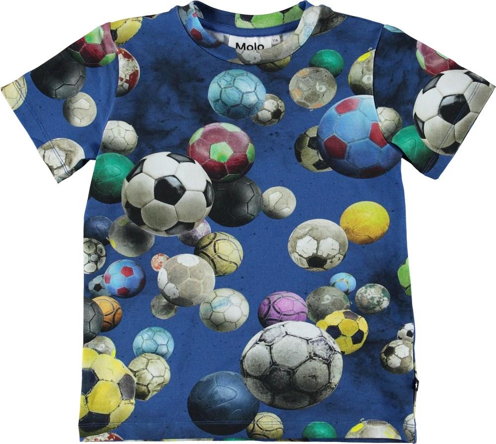 Ralphie - Cosmic Footballs - Blå t-shirt med fodbolde.