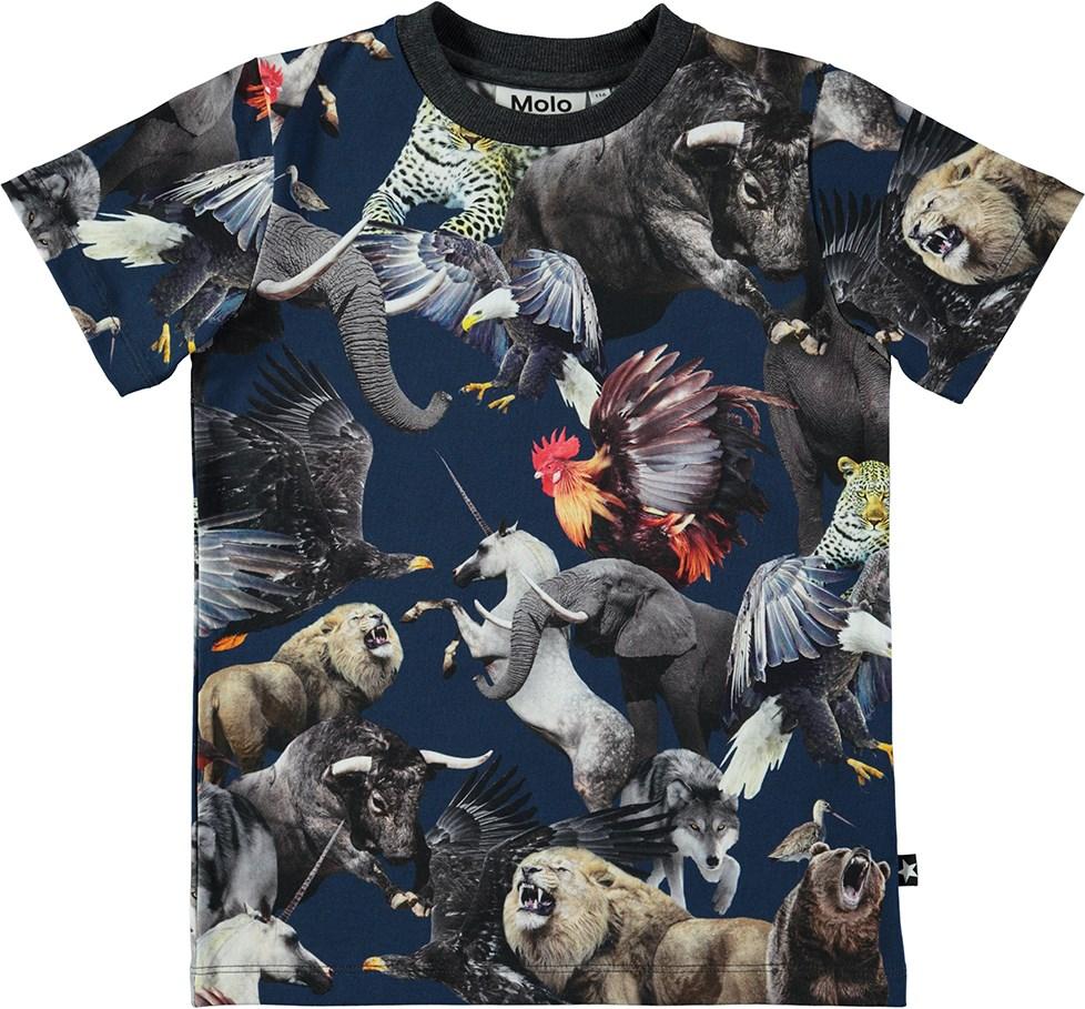 c5a10a4b575 Ralphie - National Animals - Mørkeblå t-shirt med verdens nationaldyr