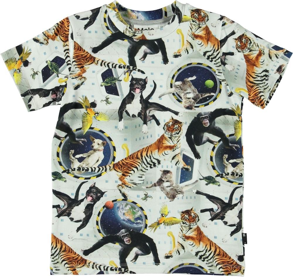Ralphie - No Gravity - Hvid t-shirt med dyr i rummet.